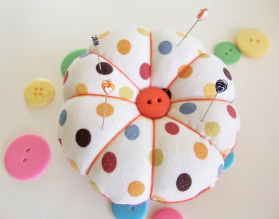 Pincushion - Polka Dot Pincushion -  Round Pin Cushion