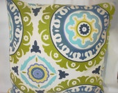 SALE--free us shipping--Designer Pillow Covers, Decorative, Throw. 18 inch inch- Waverly Lime Indigo