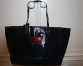 Monogrammed Navy Coated Canvas Carryall