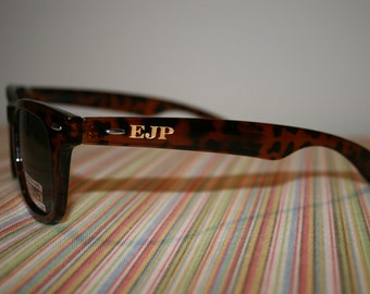 Block Monogram Engraved Wayfarer Style Sunglasses