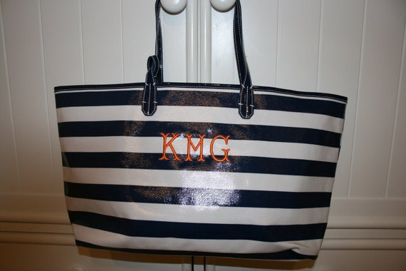 Monogrammed Navy Striped Coated Canvas Carryall