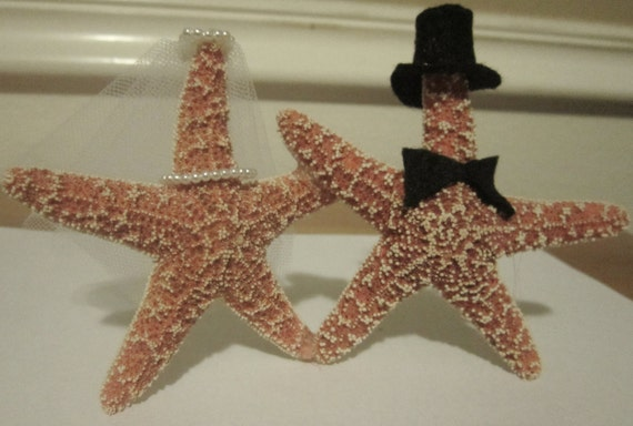 Starfish Bride And Groom Wedding Cake Toppers