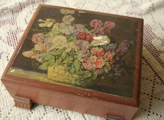 Wooden Box Vintage Floral Jewelry Box Container Storage
