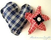 "Red White & Blue Heart and Star with Button Embellishment Country Primitive Ornaments or Bowl Fillers - 4"" - HeckmanCrafts"