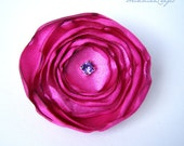 Fuschia Pink Singed Satin Hair Flower Fascinator with Purple Rhinestone Center - 2""