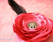 Coral Pink Singed Satin Hair Flower Fascinator with Black Feather - Goth, Valentine's Day - 3.5""