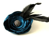 """Teal Hair Flower Fascinator with Feathers & Goth Button Center - 4"""", Blue Green, Prom, Wedding, Peacock"""