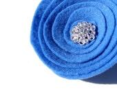 "Blue Felt Flower Hair Clip with Rhinestone Center - 3.25"" Medium Blue, Brooch, Bag Clip"