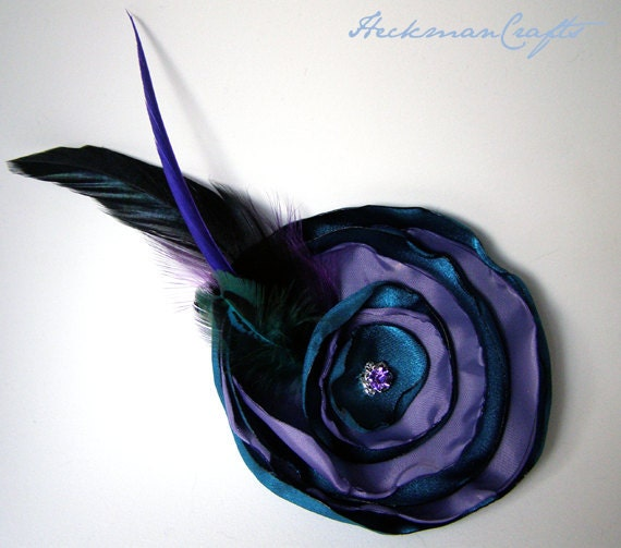 Purple & Teal Blue Singed Satin Hair Flower Fascinator with Feathers - 3.75""
