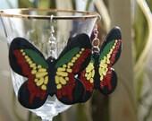 Wood Earrings - Rasta Butterfly