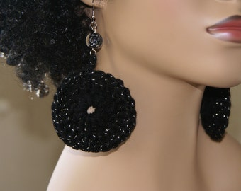 Crochet Earrings- Black