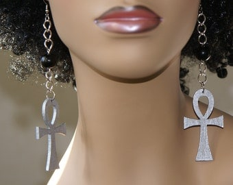 Wood Dangle Earrings-Ankh