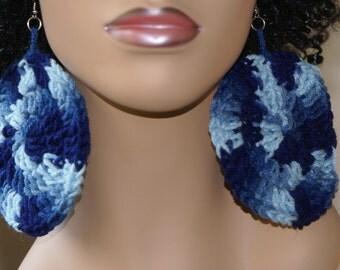 Large Crochet Earrings-The Blues