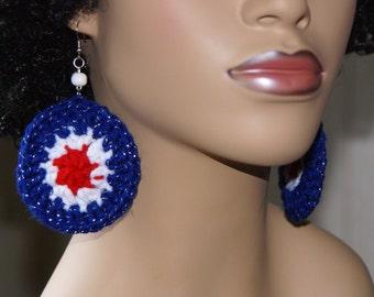 Crochet Earrings- God Bless America