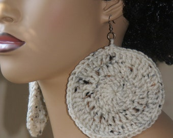 Large Crochet Earrings- Oatmeal