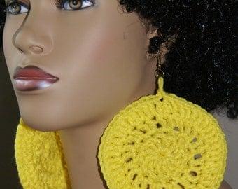 Jumbo Crochet Earrings- Yellow