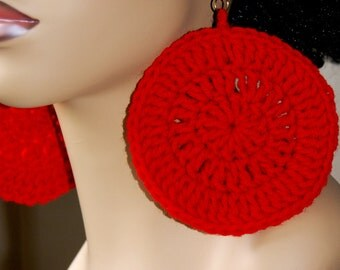 Large Crochet Earrings- Caliente Red
