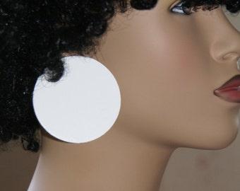 Large Stud Earrings - White