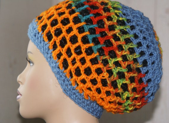 Crochet Mesh Tam-Rainbow Sherbet