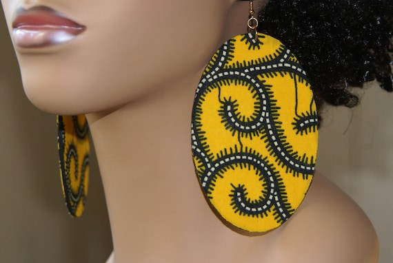 Large Fabric Covered Earrings- Yellow Print