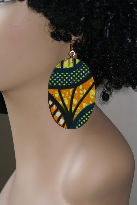 SALE- Fabric Covered Wood Earrings