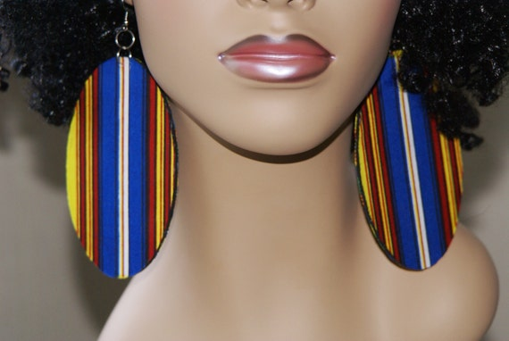 Large Fabric Covered Earrings- Stripes