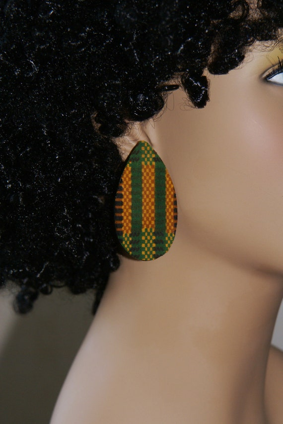 Teardrop Stud Earrings - Fabric Covered Wood Earrings