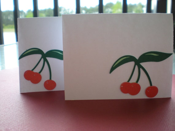 Red and Green Cherries Place Card, Escort Card, Blank Note Card - made to order