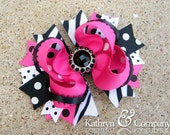 Pink Zebra Hair Bow, Pink and Black Bow, Zebra Bow,
