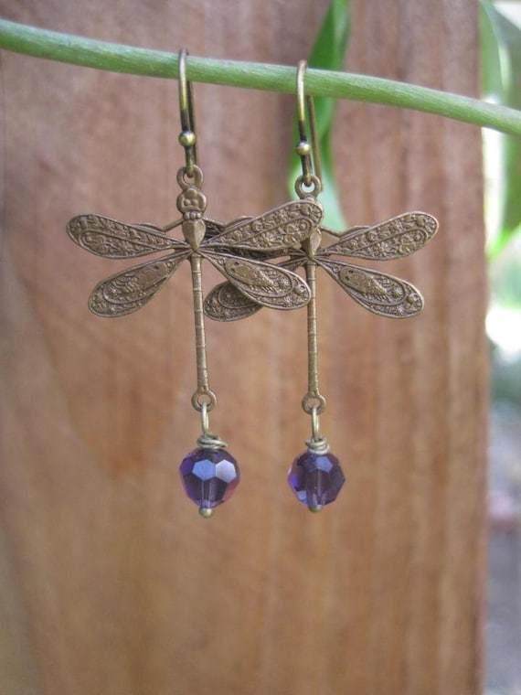 Magical Dragonfly Purple Berry Swarovski Crystal Earrings