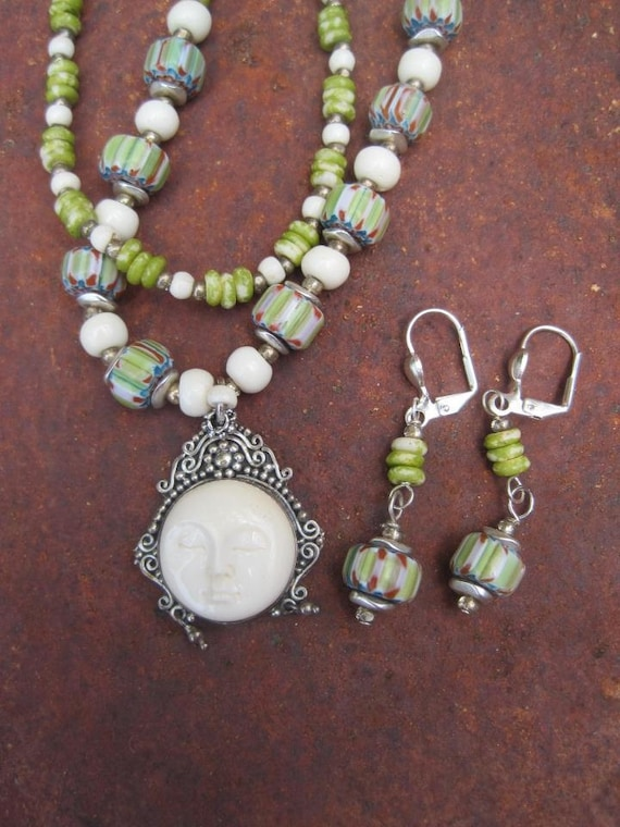 RESERVED - Necklace and Earrings Set - ooak Divine Goddess Bone and Trade Beads - FREE SHIPPING