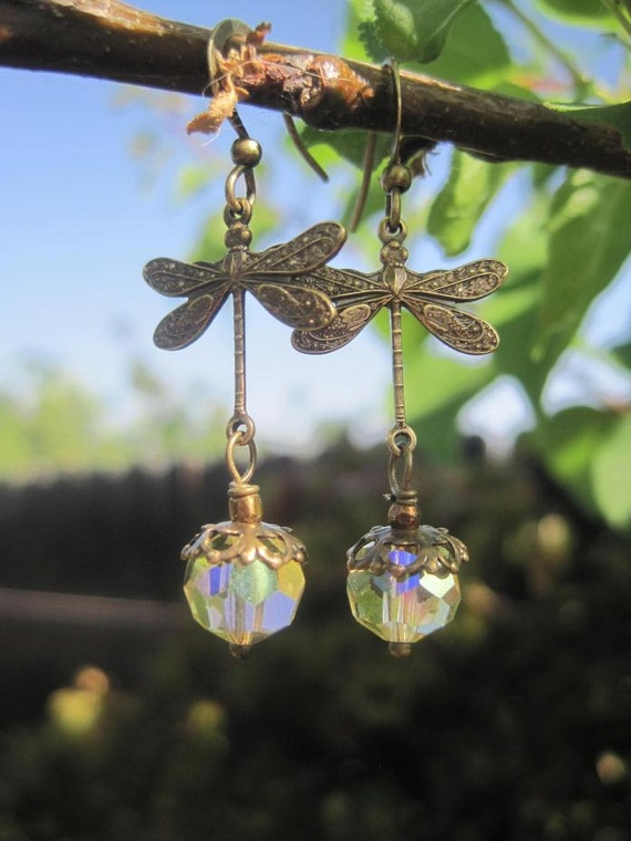 RESERVED - Vintage Yellow Aurora Borealis Crystals and Brass Dragonfly Earrings