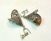 Vintage Earrings - Antique Silver Filigree Cones with Screw Backs