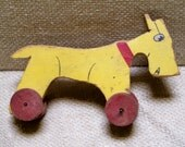 Vintage Pull Toy 1930s Dog Yellow and Red Folk Art
