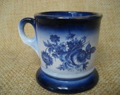 Antique Vintage Flow Blue Mustash Coffee Cup Mug Gold Trim Floral Flower Bouquet 1800s Man Mens Gift