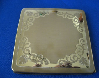Vintage Compact Brass Gold Tone Embilished Powder Blush Makeup Container
