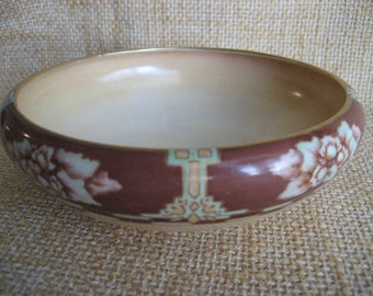 Vintage Favorite Bavaria Bavarian Bowl Antique Glazed Poreclian 22k Gold Gilt Art Deco And Floral Pattern Hand Painted