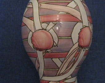 Vintage BING Vase Abstract Art Modern Design Pink Rose Pastel Colors Ceramic Pottery Flower Container 1980s Home Decor