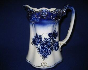 Vintage Antique Pitcher Flow Blue Roses with 22kt karat Gold Gilt Made In England Porcelain Holiday Gift Present