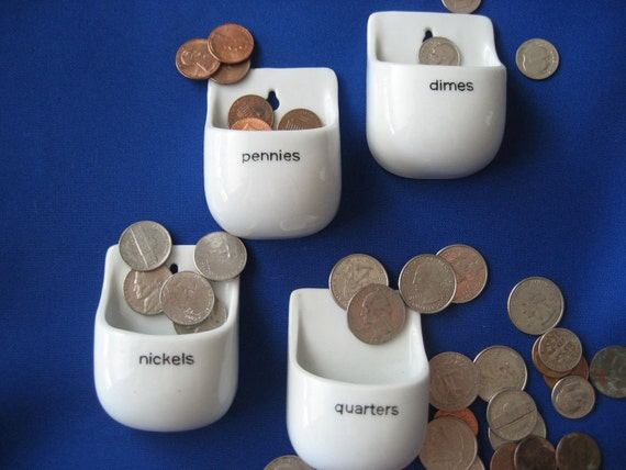 Vintage Porcelin China Retro Coin Money Cups White Wall Home Decor Unique Gift