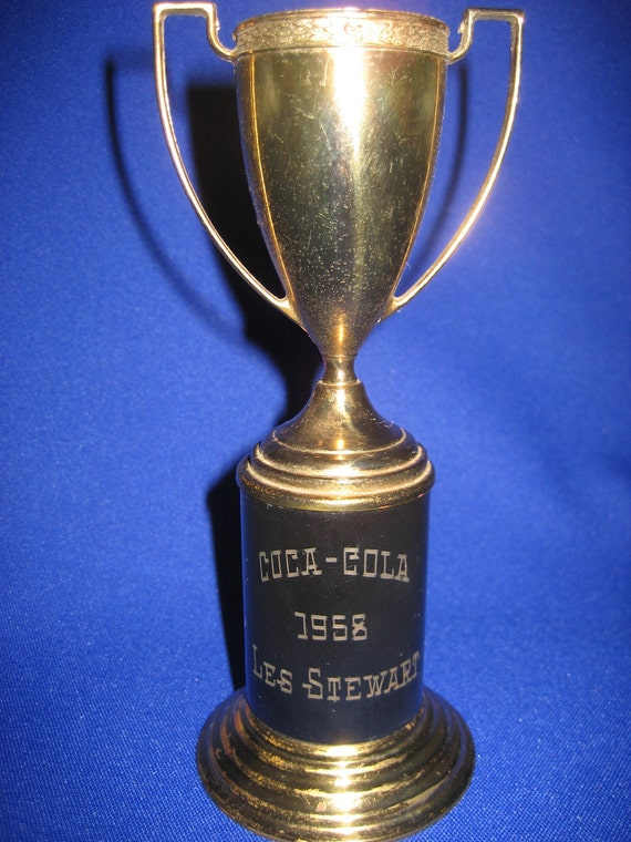 Vintage Coca Cola Trophy Cup Black and Brass  1958 Engraved Name Les Stewart Collectable Loving Cup