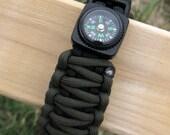 Double size, King Cobra Paracord Survival Bracelet with Compass plus Free Keychain