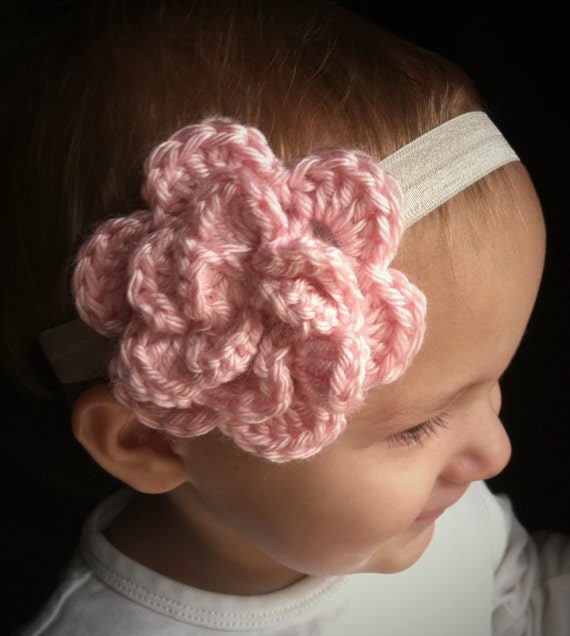 baby pink crochet 3 dimensional flower headband on wide ivory fold over elastic, INFANT 6-12M size