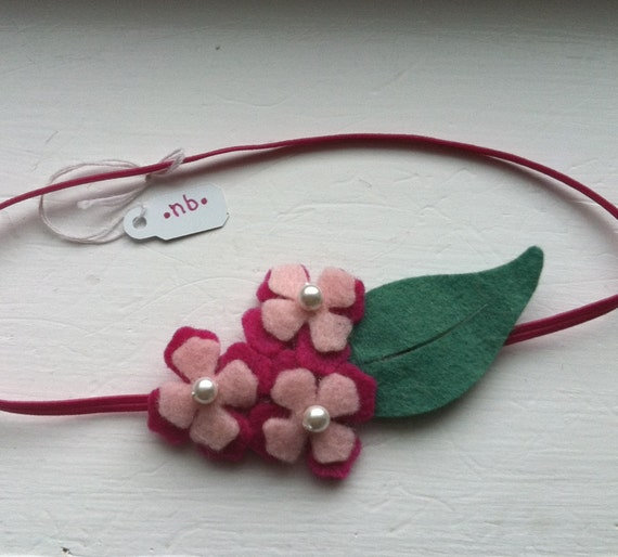 NEWBORN sized pink, berry and pearl felted wool headband for baby with green leaf, spring or summer photo prop for baby