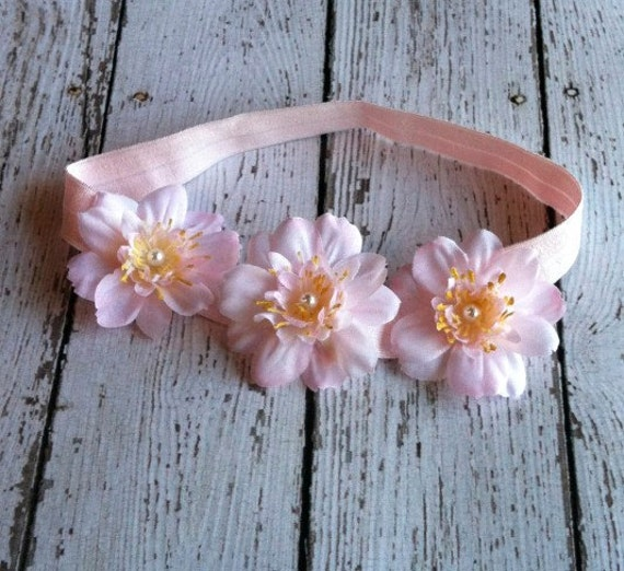 baby peach blossom with pearl center baby halo/headband on soft pink elastic, newborn through toddler halo,  ANY SIZE,  photo prop