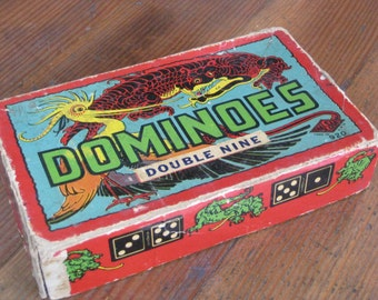 Vintage Halsam 920 Dominoes - Double Nine (Dragon Box)