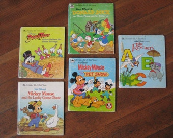 Vintage Children's Book Instant Collection - Set of Five Walt Disney Golden Tell-A-Tale Books