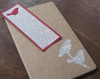Bird Silhouette - Large Moleskine Cahier Journal/Notebook with Bookmark