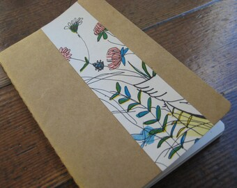 Whimsical Floral Design  - Small/Pocket Moleskine Cahier Journal/Notebook