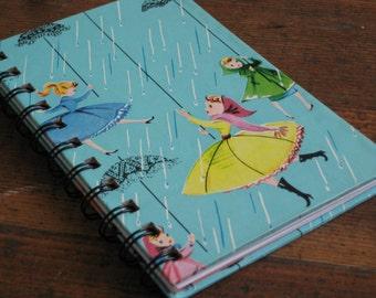 Handmade Spiral Bound Rainy Day Girls and Umbrellas - Journal/Notebook